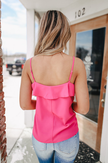 Ruffle Detail Hot Pink Tank