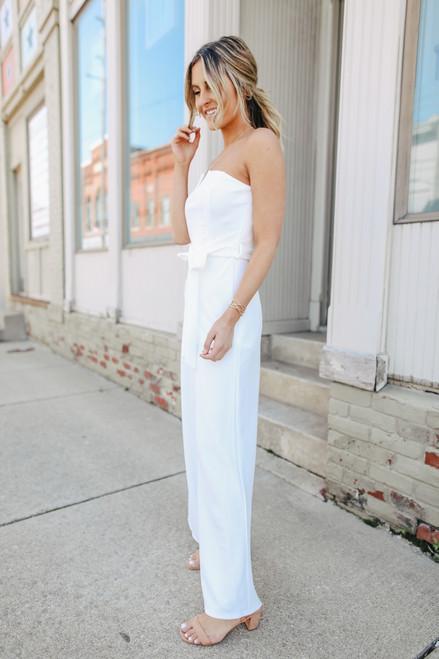 Strapless Tie Waist White Jumpsuit