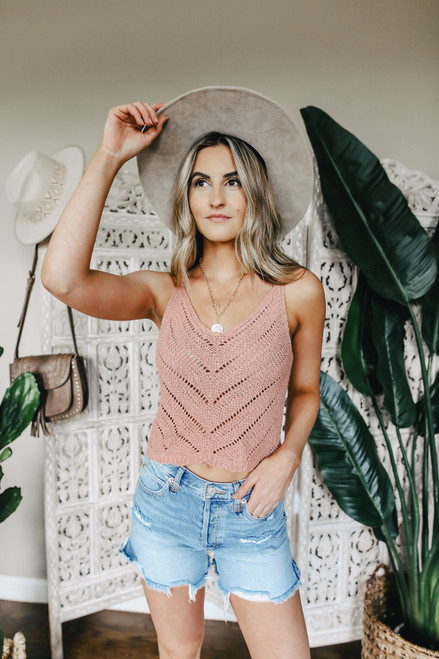 V-Neck Pointelle Dusty Peach Tank