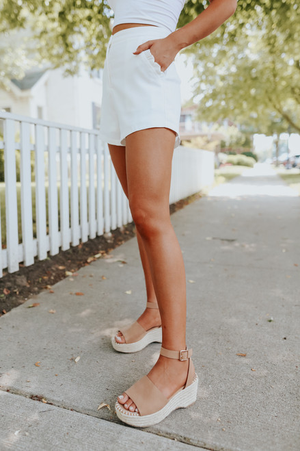 Ruffle Detail White Shorts