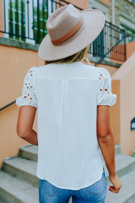 Eyelet Sleeve Faux Wrap White Top