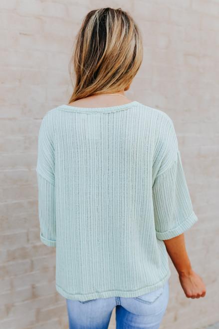 V-Neck Sage Ribbed Knit Pullover