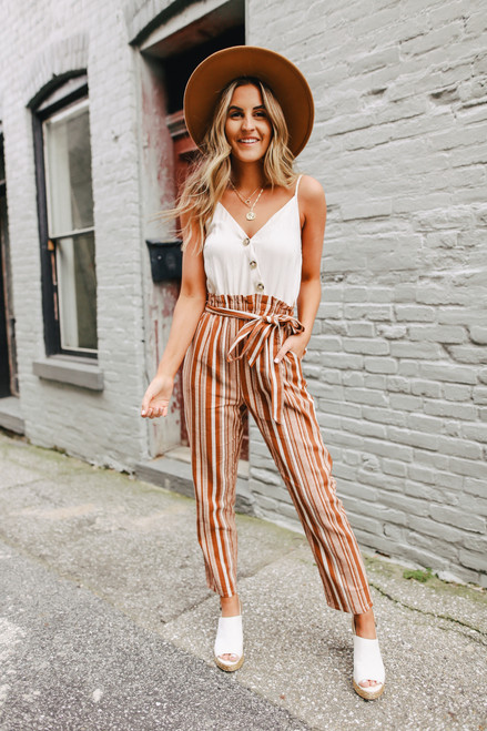 Contrast Rust Striped Paperbag Jumpsuit