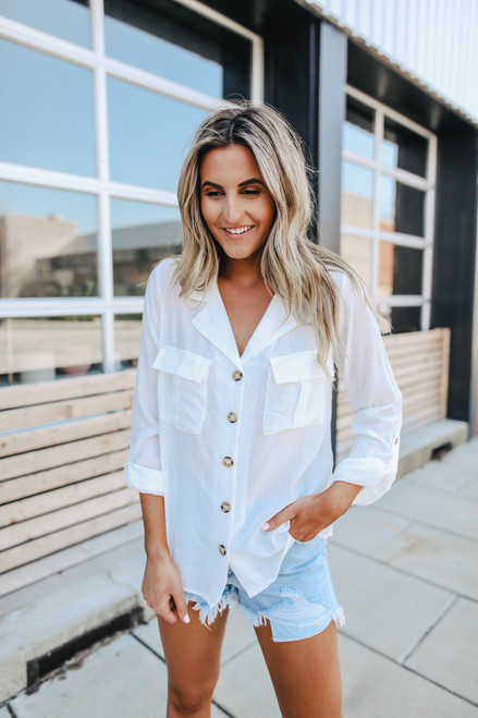 Calm Waters Button Down Pocket Shirt