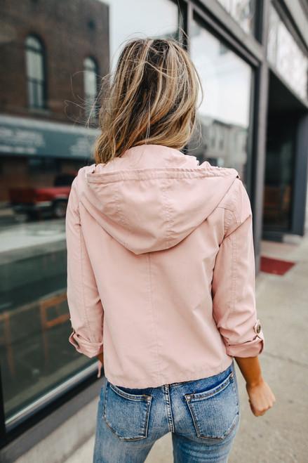 Hooded Pink Peach Skin Jacket