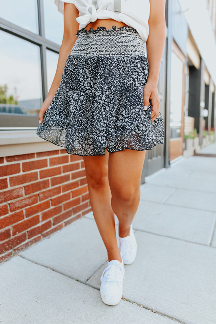 Embroidered Waist Black Floral Skirt