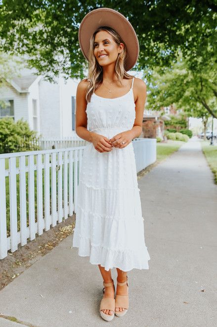 Tiered Dotted White Midi Dress