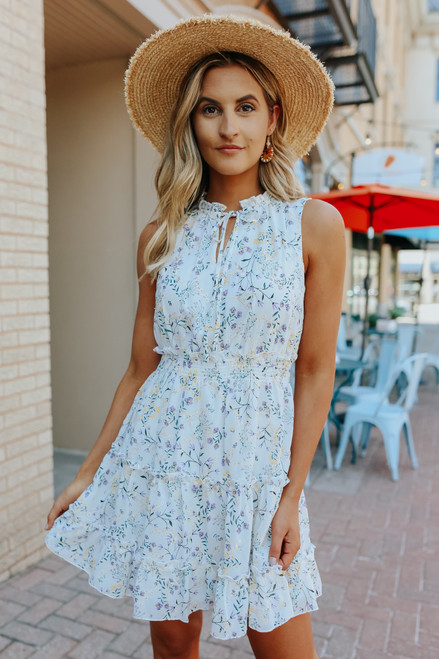 Tie Front Metallic Floral Tiered Dress