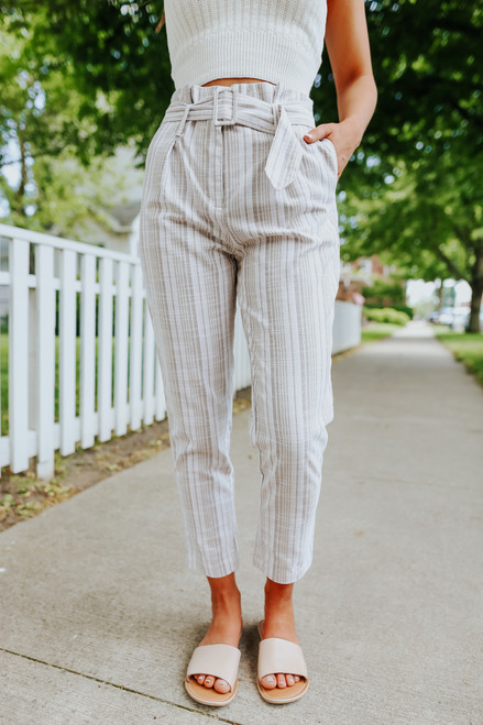 Belted Taupe Striped Cropped Pants