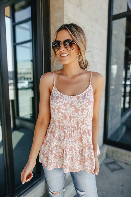 Palmer Coral Pink Floral Tiered Tank