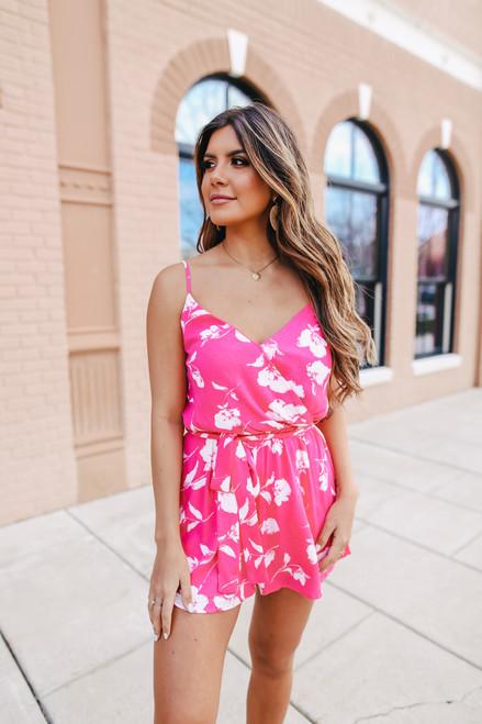 Surplice Hot Pink Floral Romper