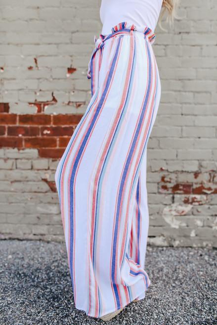 Tie Waist Pastel Stripe Pants