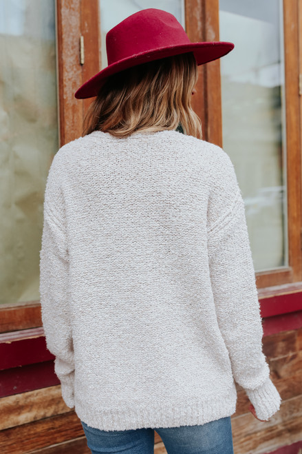 V-Neck Oatmeal Two Tone Sweater