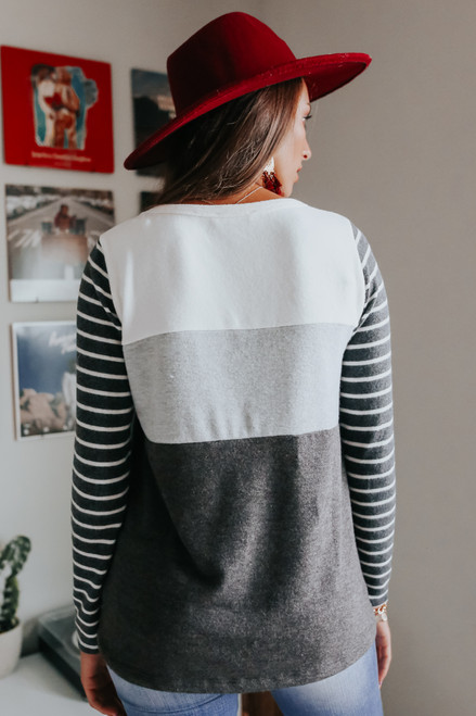 Soft Brushed Contrast Colorblock Pullover