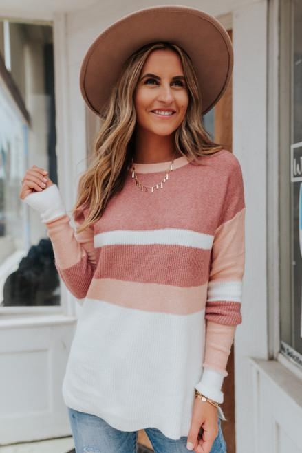 XOXO Mauve Colorblock Sweater