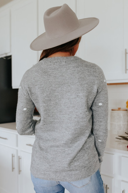 Sweet Side Grey Pom Sweater