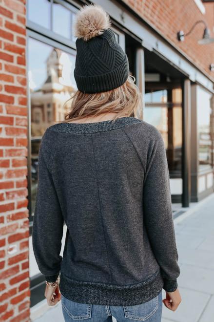 Wide Neck Contrast Brushed Pullover