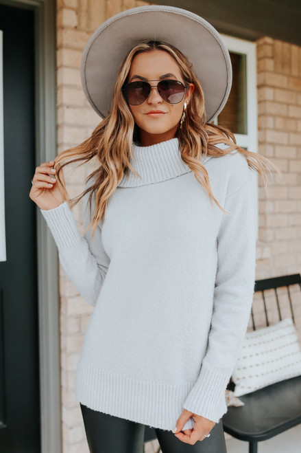 Turtleneck Ribbed Detail Silver Sweater