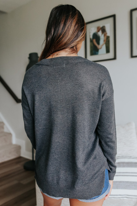 V-Neck Ribbed Detail Charcoal Sweater