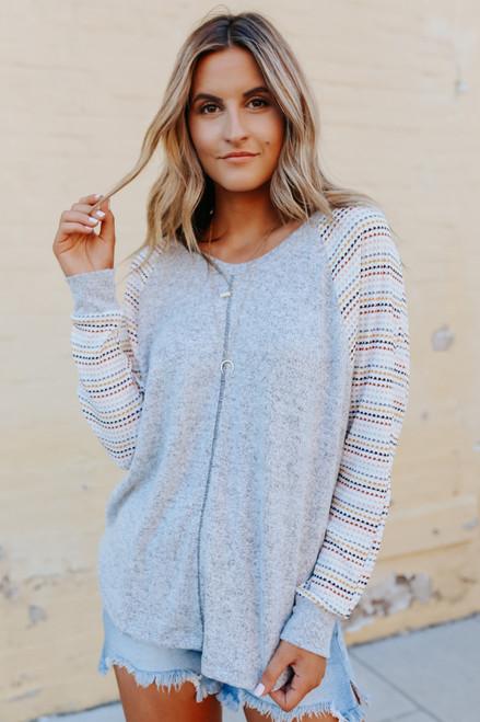 Brushed V-Neck Multi Striped Grey Top