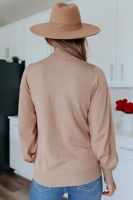 Mock Neck Balloon Sleeve Camel Sweater