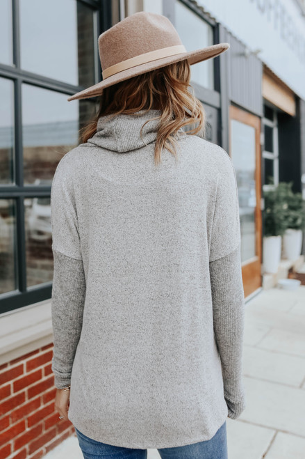 Cowl Neck Seam Detail Brushed Pullover