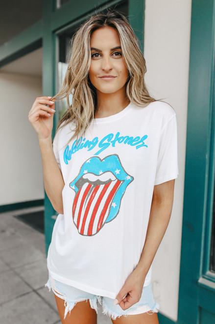 Daydreamer Rolling Stones Stars & Stripes Boyfriend Tee