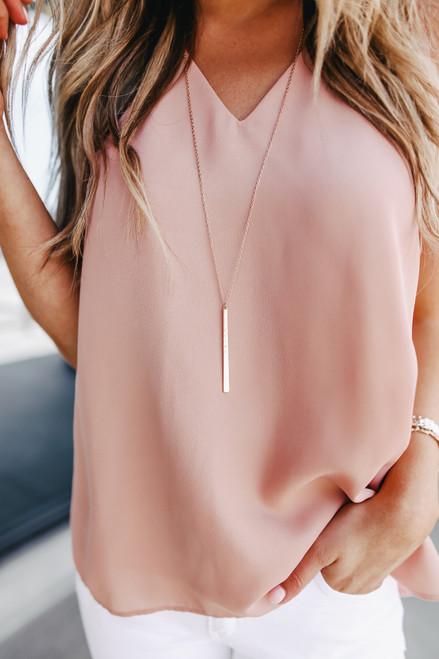 Textured Gold Bar Necklace