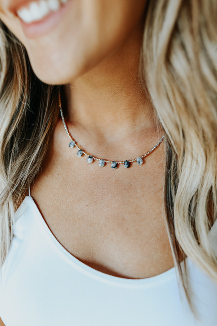 Teardrop Grey Stone Necklace