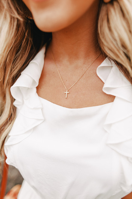 Starburst Gold Dipped Cross Necklace