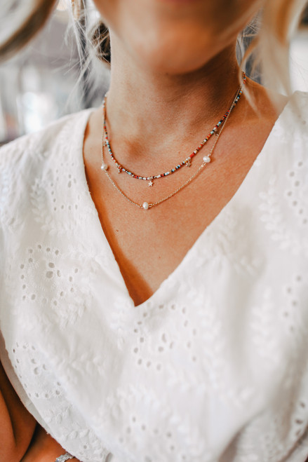 Layered Celestial Beaded Necklace