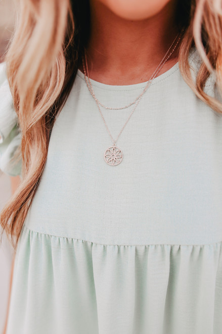 Layered Rose Gold Flower Necklace