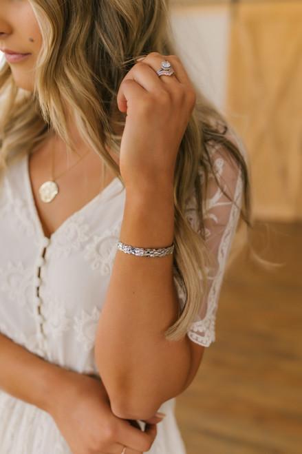 Textured Silver Metal Bracelet