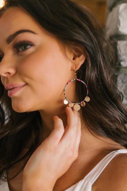 Multicolored Beaded Coin Hoop Earrings