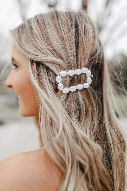 Paradise White Beaded Hair Clip