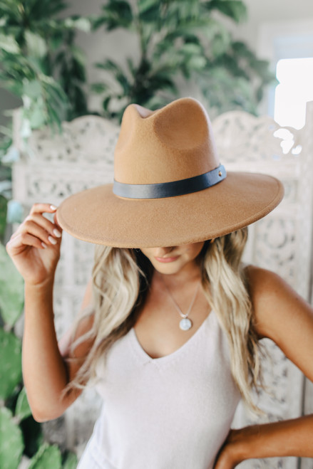 Belted Brown Wide Brim Hat