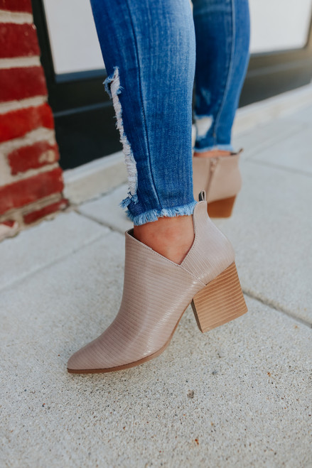 Wylder Faux Lizard Taupe Booties