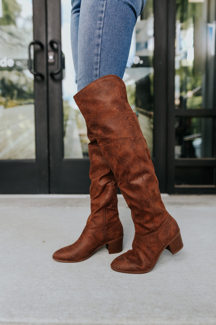 Distressed Cognac Over the Knee Boots