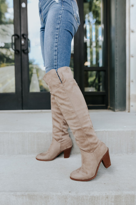 Faux Suede Thigh High Taupe Boots