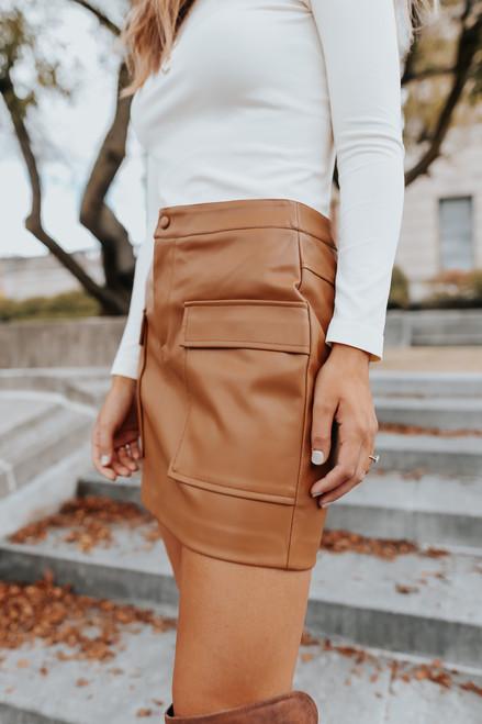 BB Dakota Too Late Vegan Leather Skirt