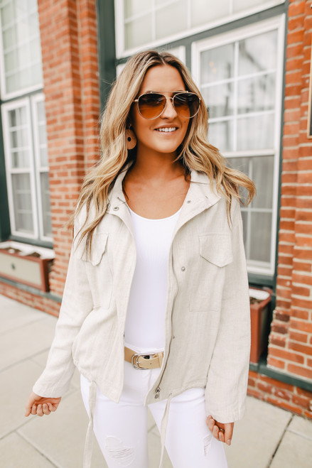 Zip Up Oatmeal Linen Jacket