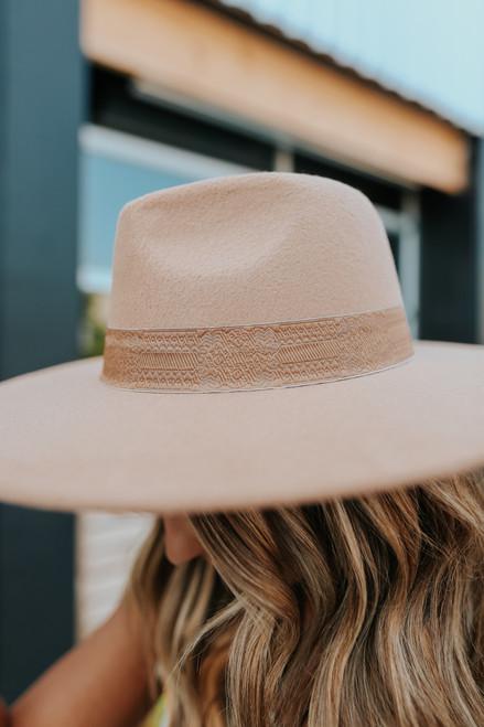 Sutton Printed Ribbon Beige Hat