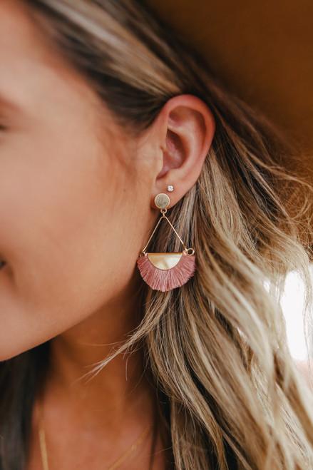 Sydney Pink Fringe Earrings