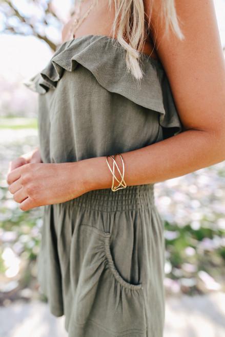 Criss Cross Gold Cuff Bracelet
