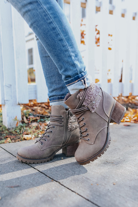 Very G Olivia Taupe Teddy Boots