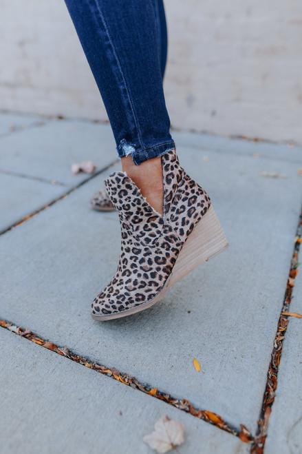 Very G Erika Leopard Wedge Booties