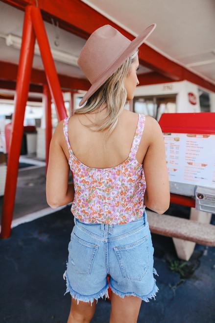 Orange County Surplice Floral Bodysuit