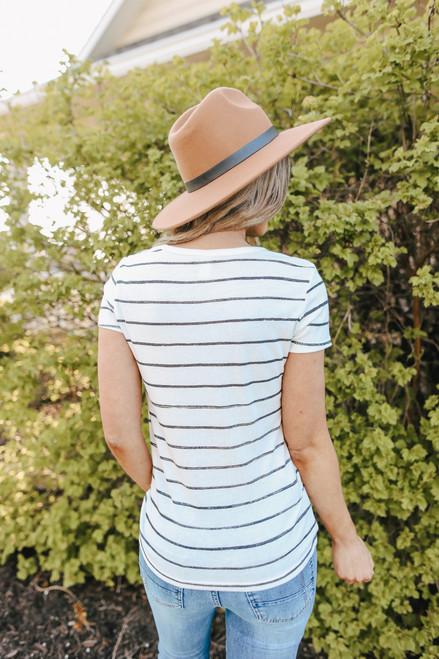 Ideal White Stripe Eco-Jersey Tee
