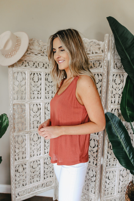 Scoop Neck Terracotta Tank