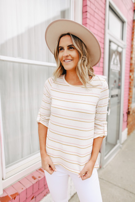 Everly Roll Tab Ivory Striped Top
